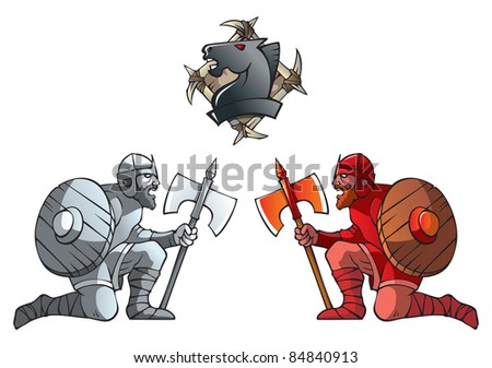 Chess pieces series, black and white pawns, Dark Ages and fantasy, including chess horse emblem, raster from vector illustration - stock photo
