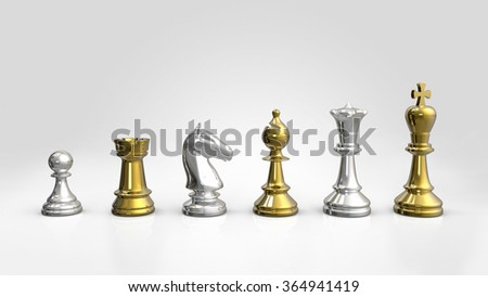 Chess Pieces Silver and Gold