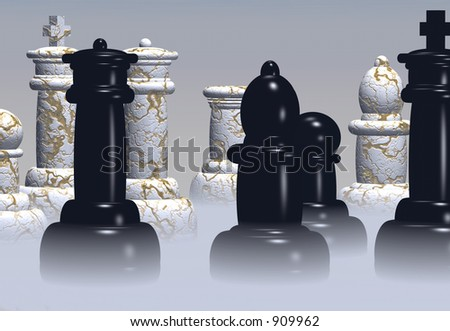 Chess pieces stand ready in a rising mist. - stock photo