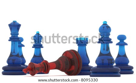 Chess pieces with clipping path , 3d render - stock photo