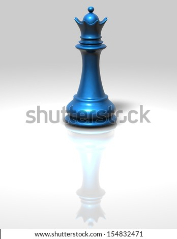 Chess queen blue isolated illustration - stock photo