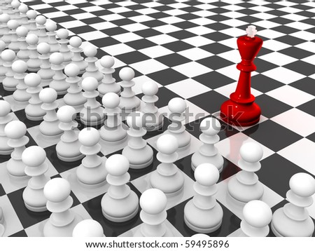 Chess. Red king and rows of white pawns on chessboard. Leader and team. - stock photo