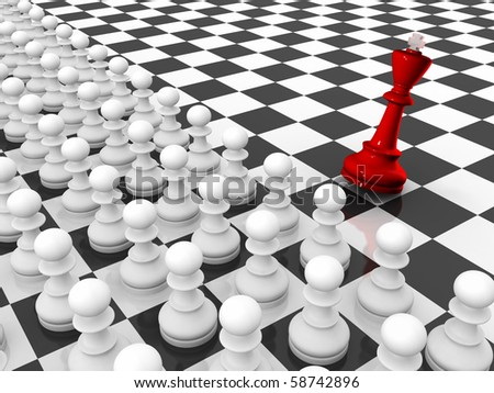Chess. Rows of white pawns attacks red falling king chessboard. - stock photo