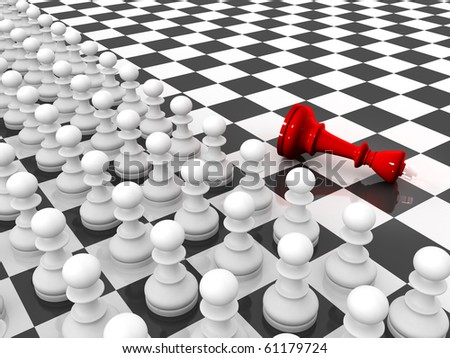 Chess. Rows of white pawns attacks red lying king on chessboard. - stock photo
