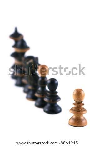 chess scene on white background symbol of confrontation - stock photo