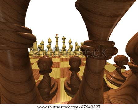 Chess set. Before the battle.