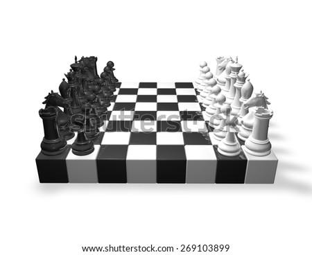 Chess set black and white. - stock photo