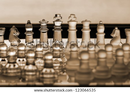 Chess Set / chess pieces - business concept series - company, corporation, merger, merge, competition. - stock photo