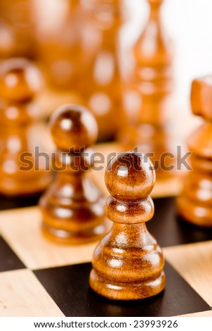 Chess set - close-up of black pawn - stock photo