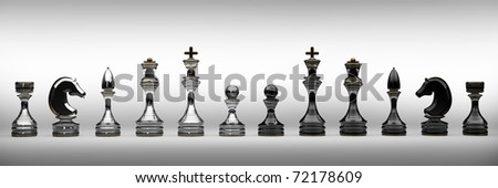 Chess  set isolated on white 3d render - stock photo