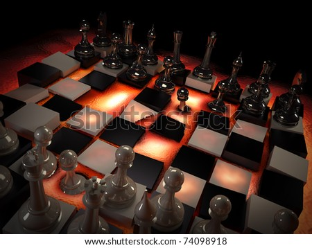 Chess set on red-hot lava. Concept: rules change. - stock photo