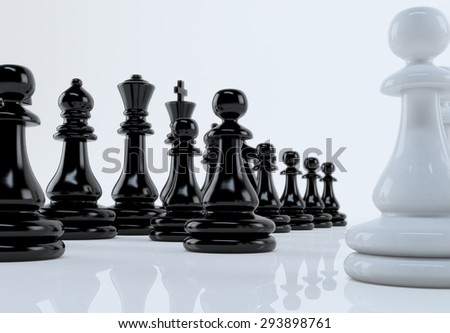 Chess Set on White Background with Wooden Chess Board