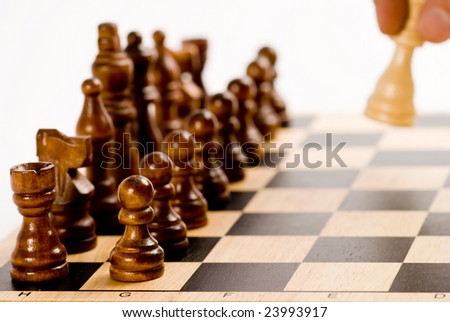 Chess set - starting gameplay - stock photo