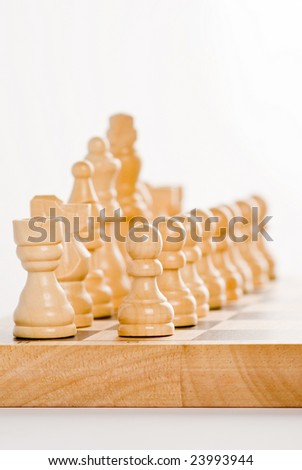 Chess set - white figures - stock photo