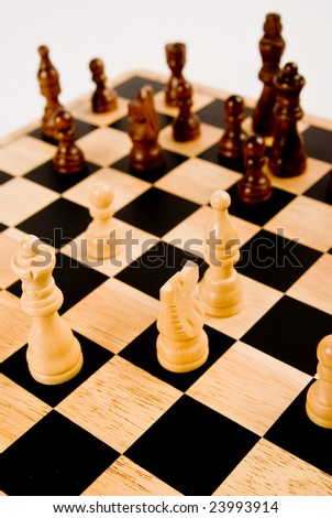 Chess set - Whites against Blacks - stock photo