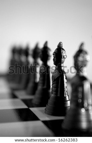 chess soldiers stand in line - stock photo