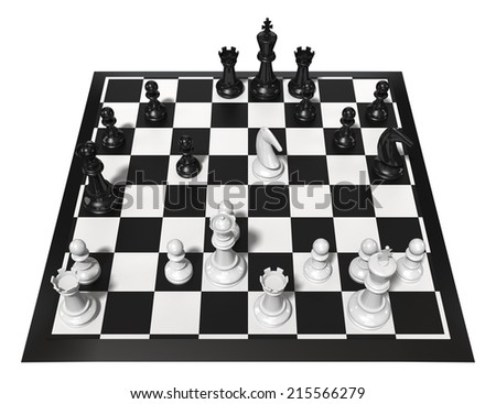 Chess table with figures. Isolated on white. Three Dimensional rendering. - stock photo