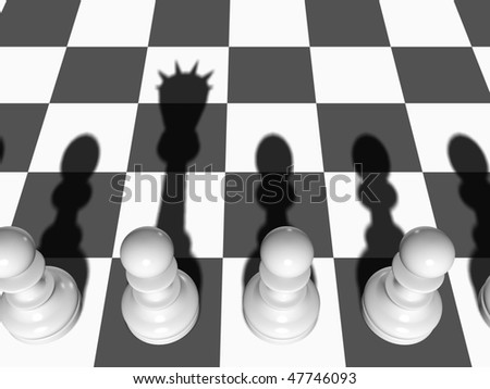 Chess. The Pawn casts a shade of the Queen on a chessboard. - stock photo
