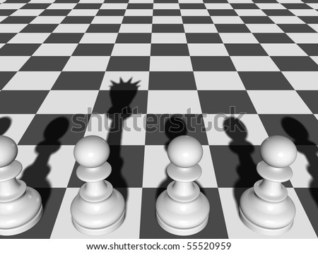 Chess. The Pawn casts a shade of the Queen on a chessboard.