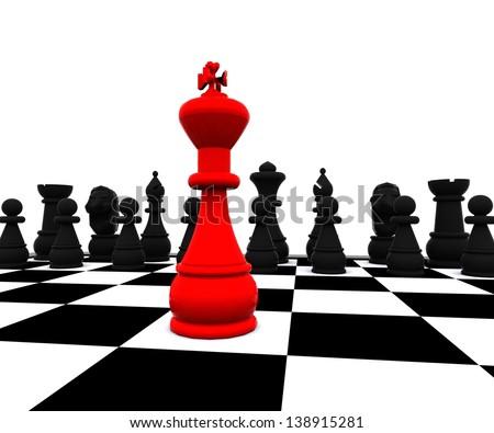 Chess three-dimensional,  Battle - stock photo