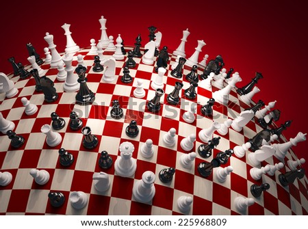 Chess white and black on the chess field - stock photo