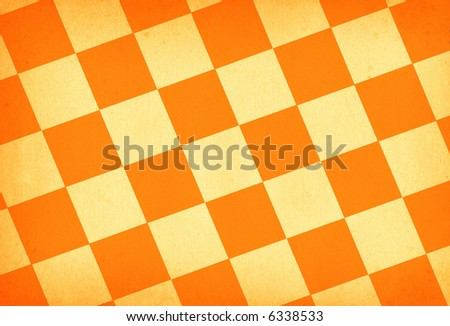 chessboard style vintage paper background in orange tones - stock photo