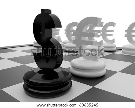 Chessboard with Euro and Dollar currency symbols. - stock photo