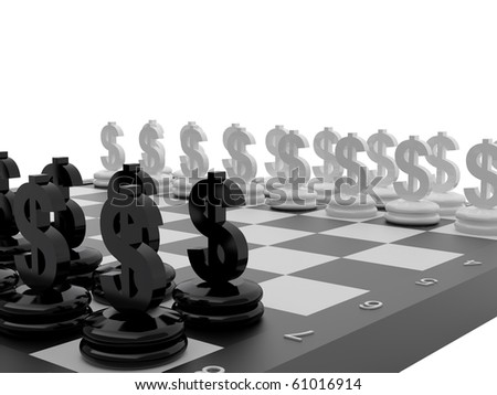 Chessboard with Euro and Dollar currency symbols. High resolution image.