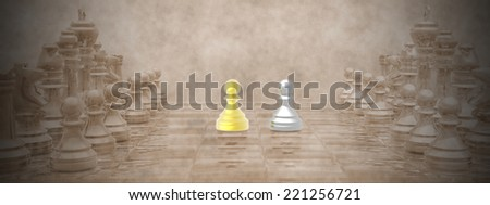 Chessboard with golden and silver pions and vintage background - 3D render - stock photo