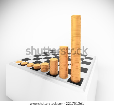 Chessboard with growing height coins stacks - exponential growth and compound interest concept - stock photo