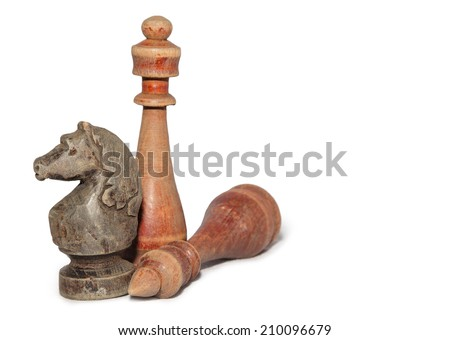 chessmen isolated on white background - stock photo