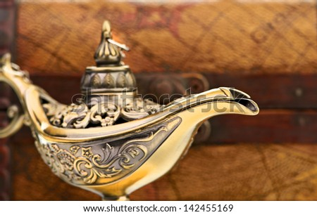 chest and aladin lamp - stock photo