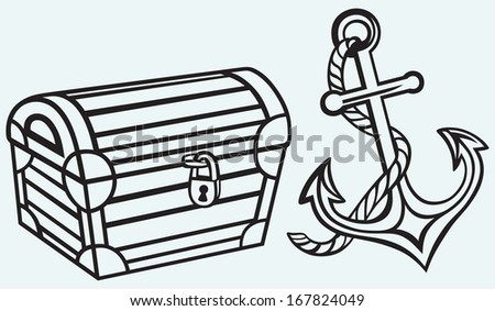 Chest and anchor isolated on blue background. Raster version - stock photo