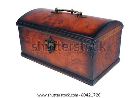 Chest for ornaments from mahogany with metal furnish - stock photo
