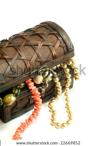 Chest full of jewelry,  isolated on  a white background