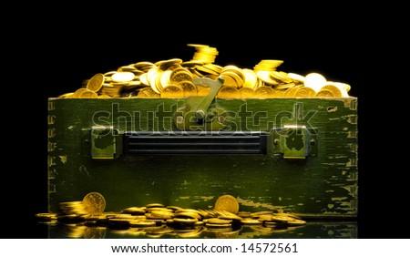 chest full of money - stock photo