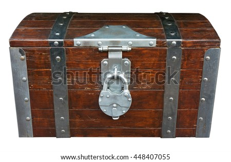 Chest isolated on white. Clipping path included. - stock photo