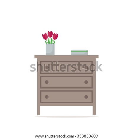 Chest of drawer icon. Isolated element on white background. Contemporary furniture for bedroom or living room. Flat style illustration.  - stock photo
