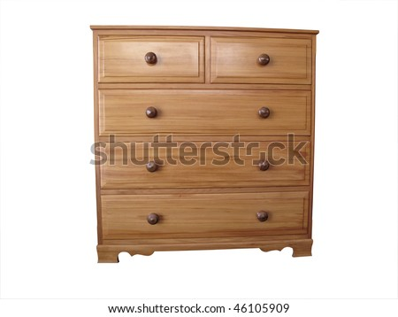 Chest of Rimu drawers - stock photo