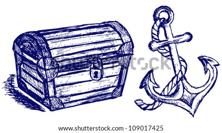 Chest sketch and anchor. Raster - stock photo