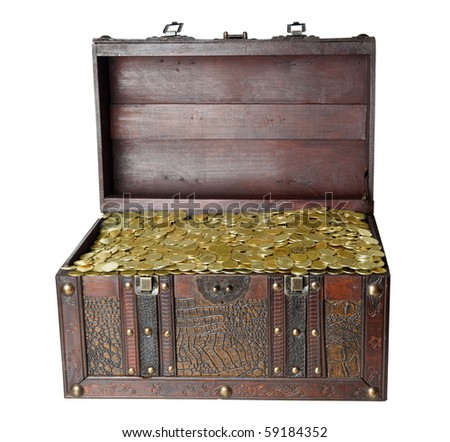 Chest trunk wooden gold isolated on the white background - stock photo
