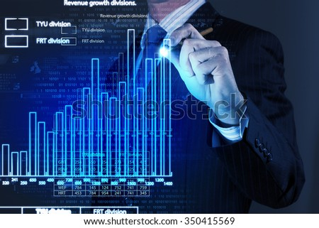 Chest view of businessman drawing with pencil increasing graph - stock photo