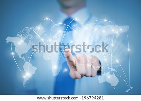 Chest view of businessman touching icon of media screen