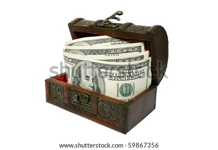 Chest with dollars isolated on white background - stock photo