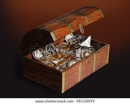 Chest with gold and silver - stock photo