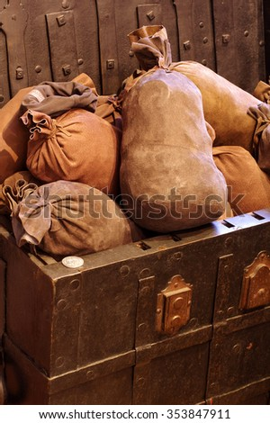 Chest with money - stock photo