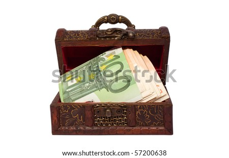 Chest with money isolated on white background - stock photo