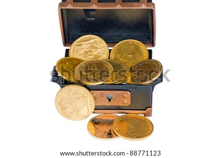 Chest with several gold sovereigns