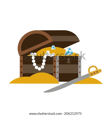 Chest with treasures and sword Raster version - stock photo