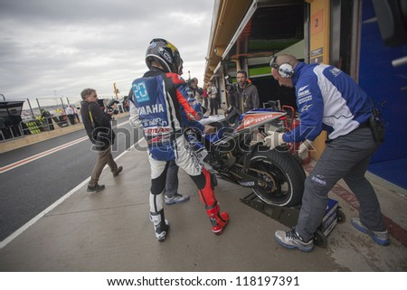 CHESTE - NOVEMBER 9: Jorge Lorenzo during MOTOGP of the Comunitat Valenciana, on November 9, 2012, in Ricardo Tormo Circuit of Cheste, Valencia, Spain